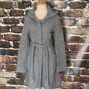 Free People Cardigan Sweater Medium Gray Long Hood
